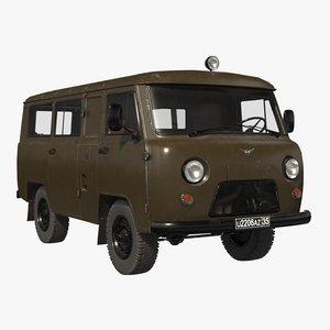 3D uaz 2206 military model