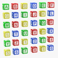 alphabet blocks letters numbers 3D