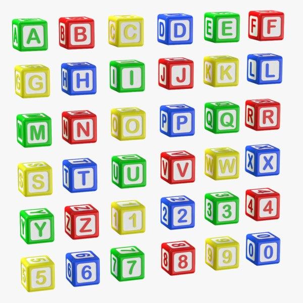 alphabet blocks letters numbers 3D