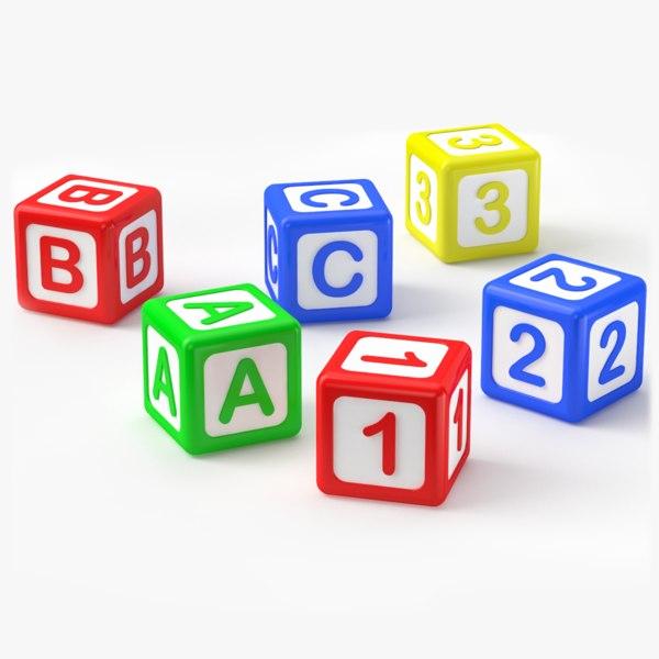 alphabet blocks b c 3D model
