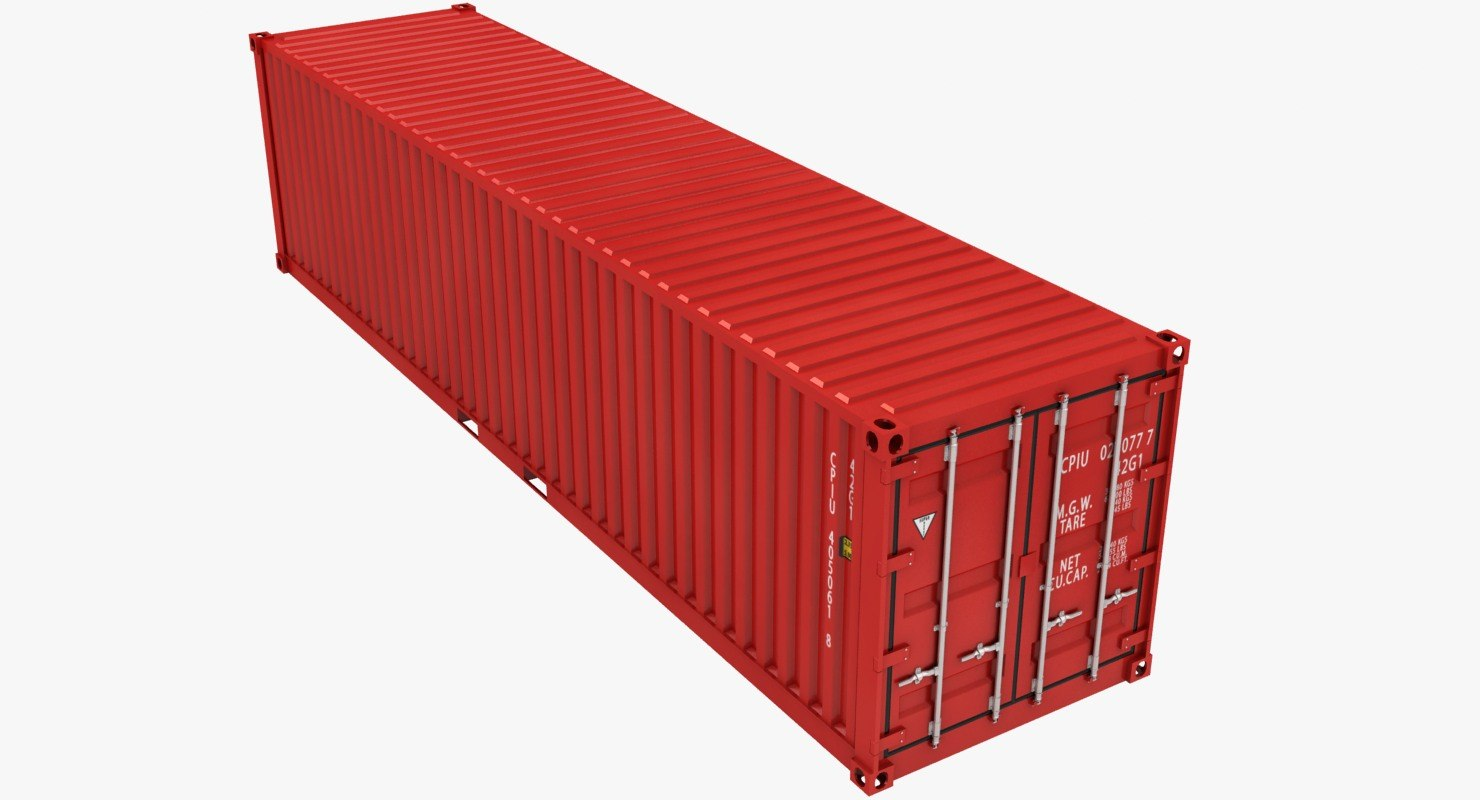 container 40ft red 3D