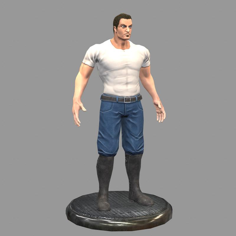 3D gangster gang man model