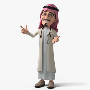 3D stylized character arab doctor