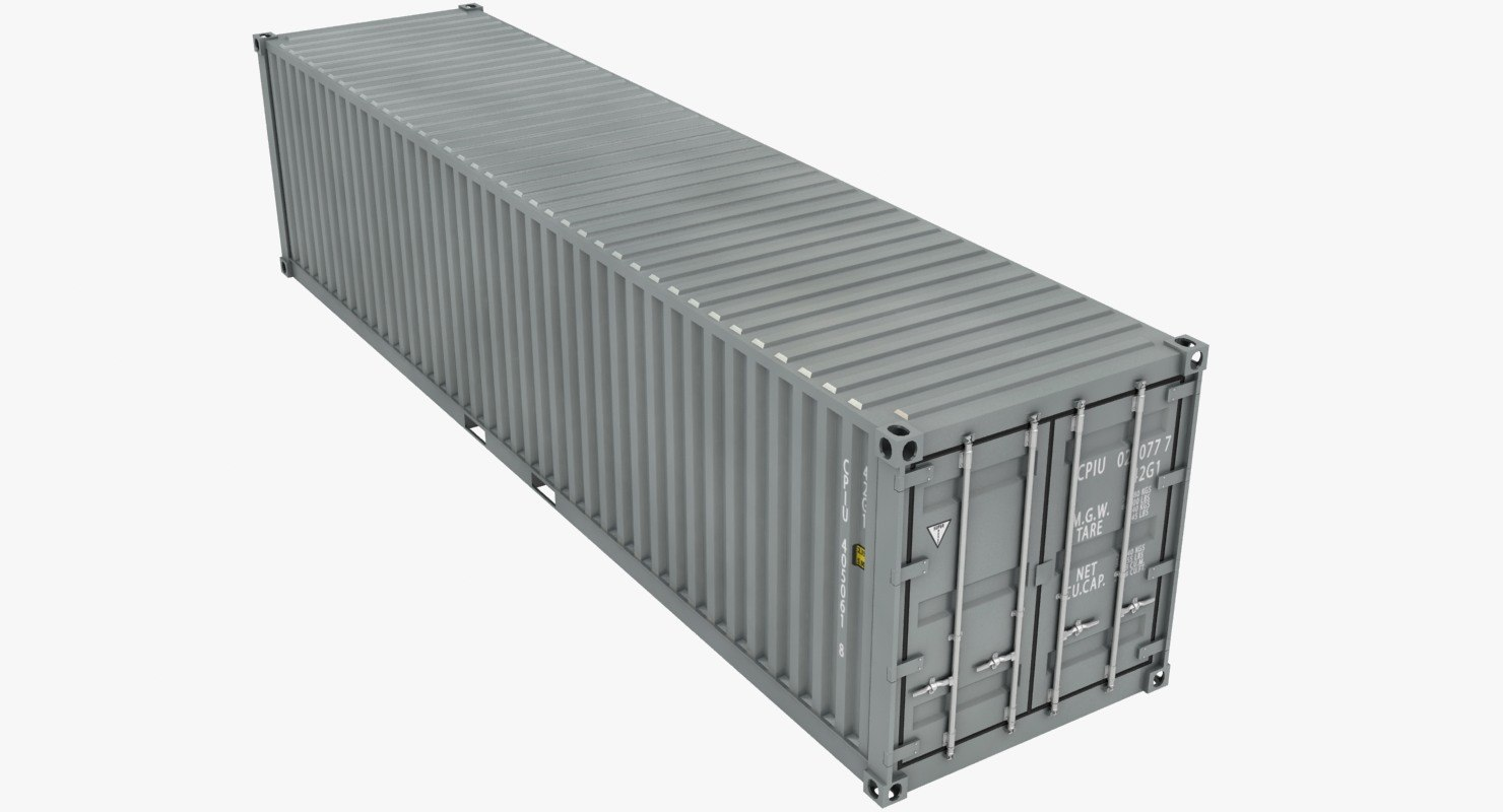 3D container 40ft gray