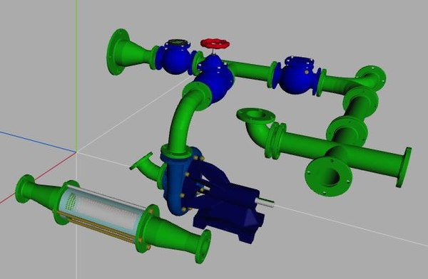 flanged pipe fittings 3D