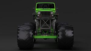 3D model monster truck jeep wrangler
