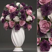 3D bouquet flowers vase