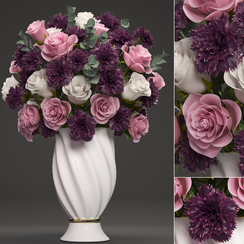 3D bouquet flowers vase
