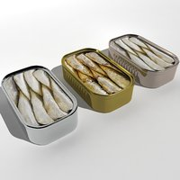 canned fish seafood 3D model