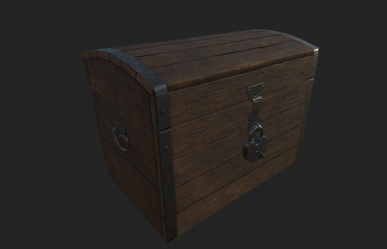 3D storage chest asset model