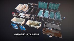 hospital old bed 3D