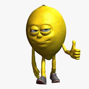lemon cartoon character fruit 3D model