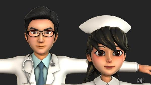 doctor nurse 3D model
