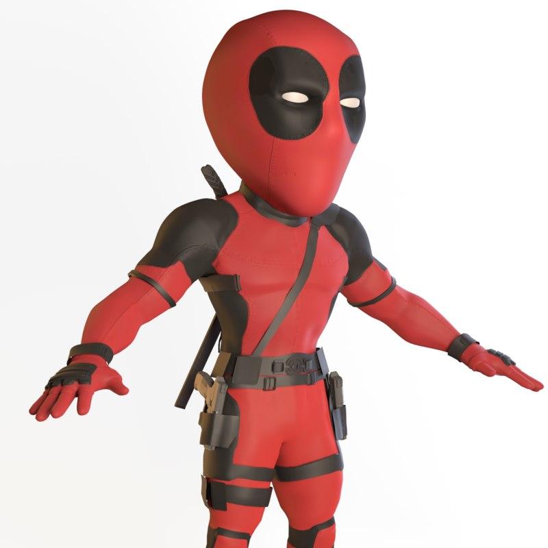 cartoon deadpool 3D model