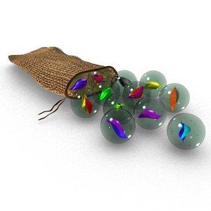 3D model marbles pouch