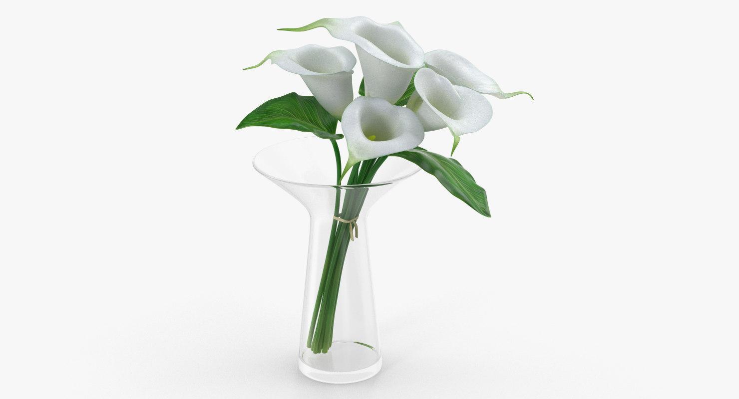 calla lilies bouquet glass vase 3D