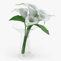 calla lilies bouquet glass vase 3D