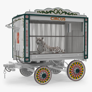 3D model circus traveling wagon white tiger