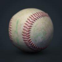 3D dirty baseball