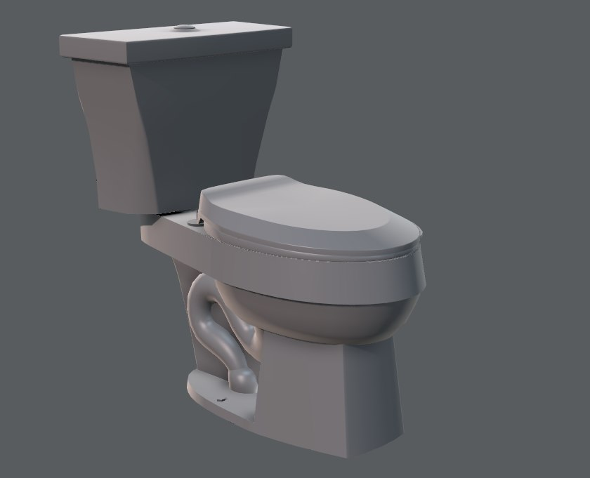 3D flush toilet model