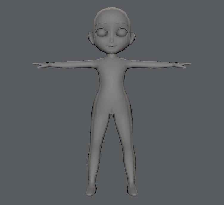 3D base character girl