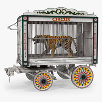 3D tiger circus wagon model