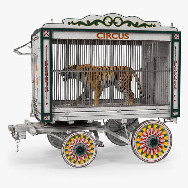 3D tiger circus wagon model