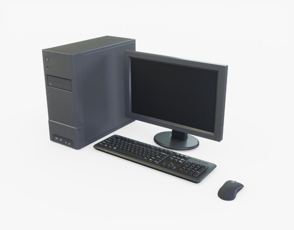 generic computer desktop 3D model