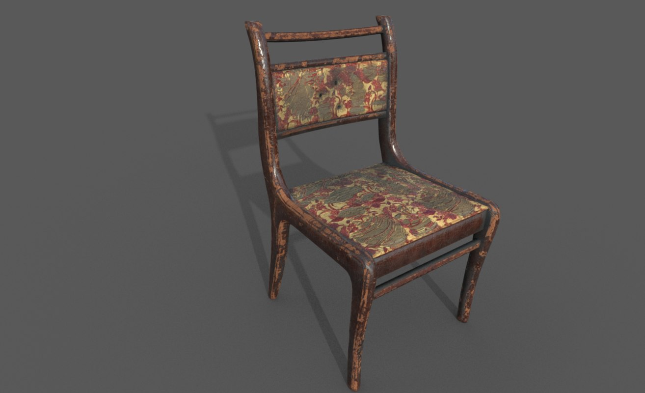 old chair holes shots 3D model