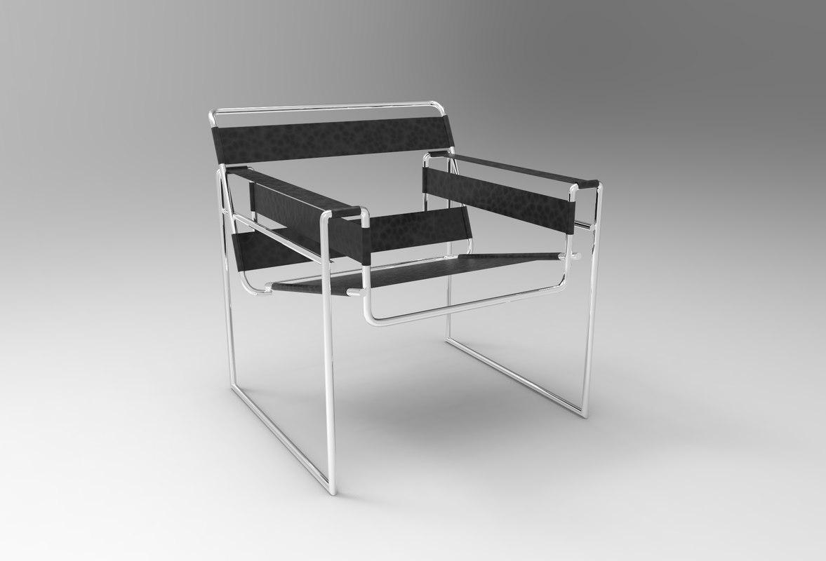 Wassily Chair 3d Model 1292918 Marcel Turbosquid Breuer TK1clJF