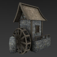 medieval watermill 3D