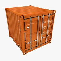 Container 10ft Low Poly (Orange)