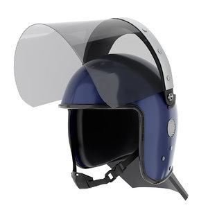 police riot helmet glass 3D