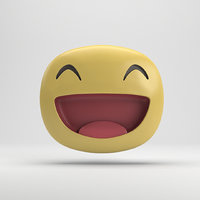 3D model facebook big grin sticker
