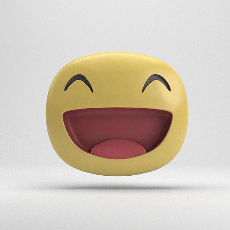 3D model facebook big grin sticker
