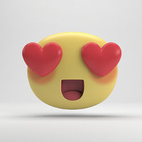 3D facebook love sticker model