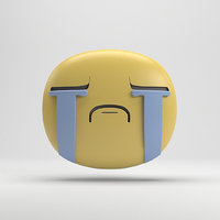 facebook crying sticker 3D model
