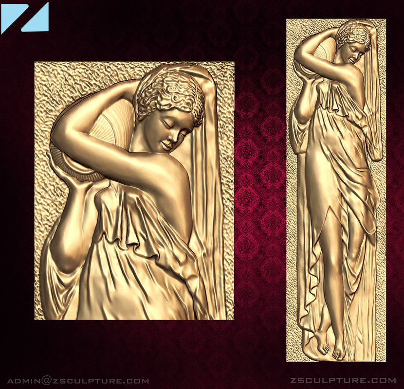 3D stl girl pitcher bas-relief