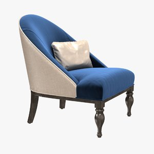 3D model chair curved seat
