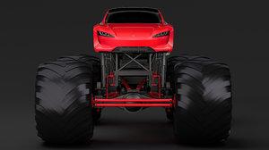 3D monster truck tesla roadster model