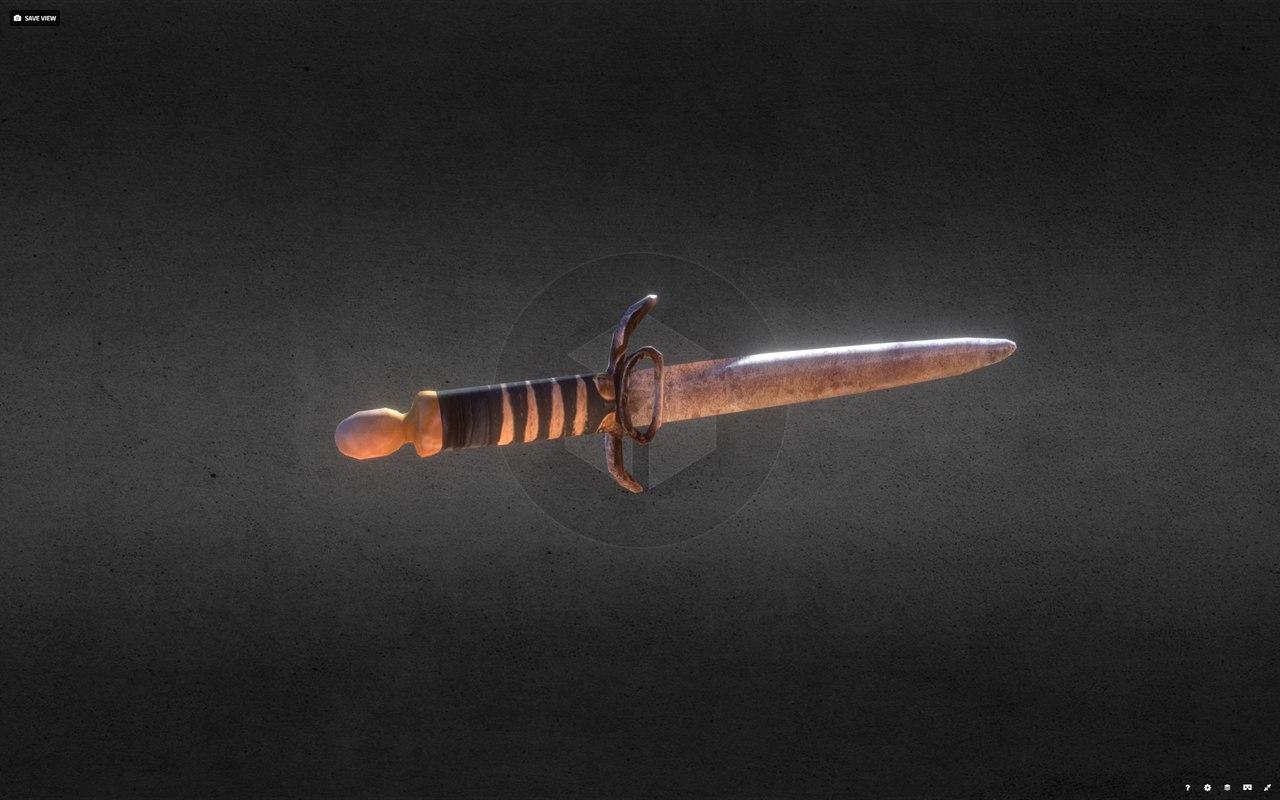 3D old rusty dagger