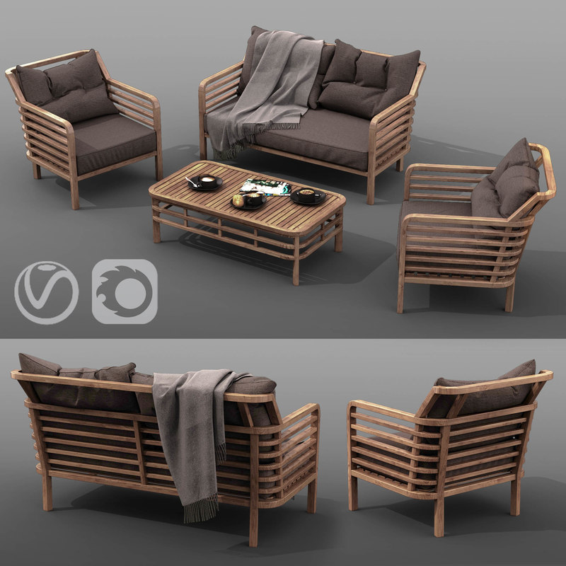 outdoor furniture set azzura 3D model