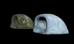 3D model moss cave snow