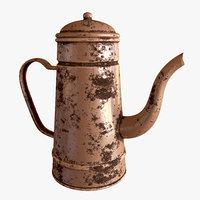 3D model rusty teapot