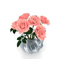 3D model rose bouquet vase