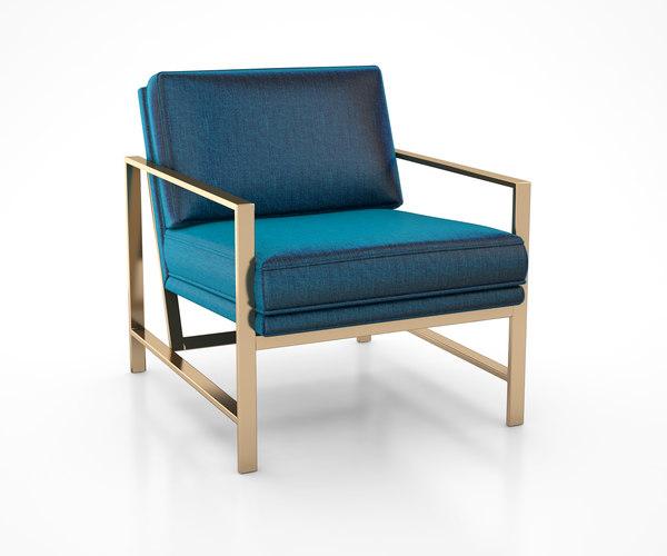 metal frame upholstered chair 3D model