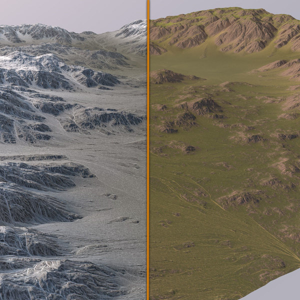 3D snowy valley