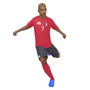 3D rigged soccer player 2018