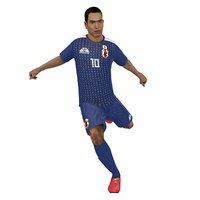 3D rigged soccer player 2018 model