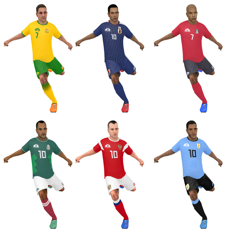 3D model pack rigged soccer player